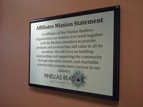 Affiliates Mission Statement Plaque